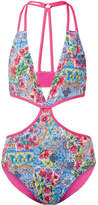 Matthew Williamson Deia Fiesta Cutout Printed Swimsuit - Light blue