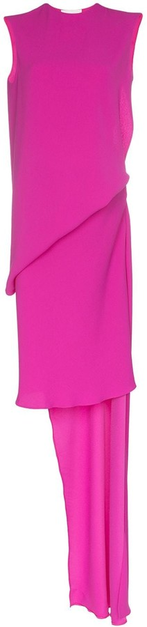 Esteban Cortazar Draped Column Style Cut-Out Dress