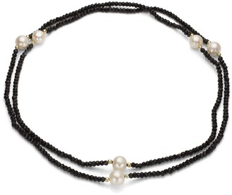 """DaVonna 14k Gold Onyx and 11-12mm White Freshwater Pearl Endless Necklace, 36"""""""