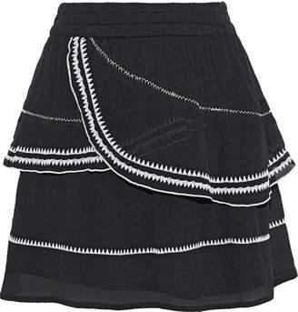 IRO Oviane Layered Embroidered Gauze Mini Skirt