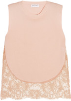 Vionnet Lace-paneled jersey top
