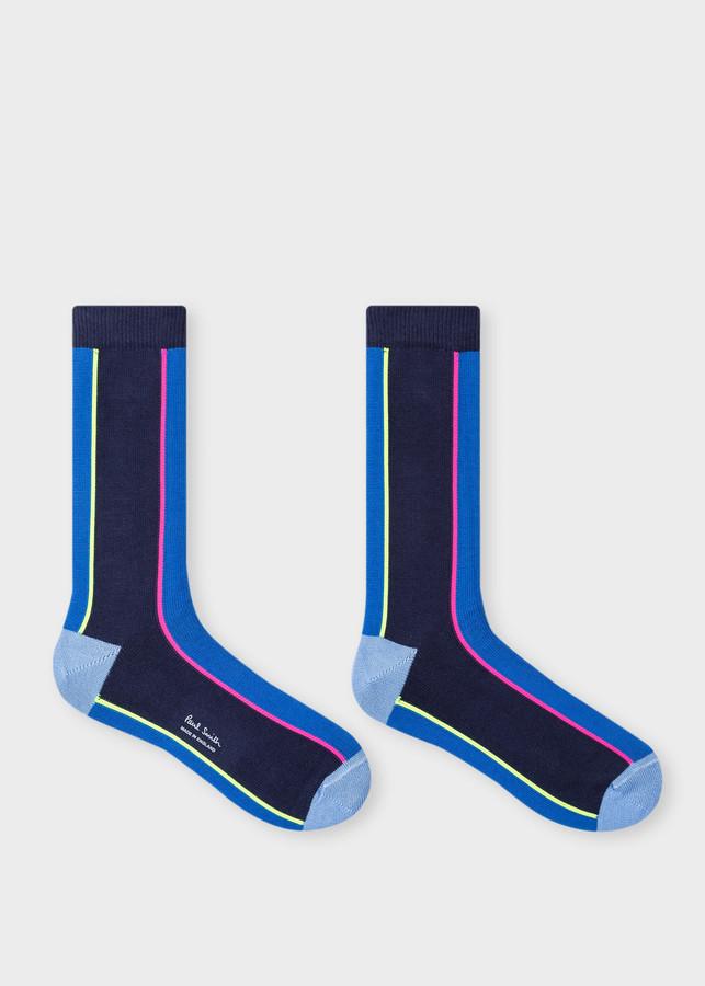 Thumbnail for your product : Men's Blue Vertical Stripe Socks