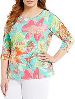 Investments Plus 3/4 Button Sleeve Top