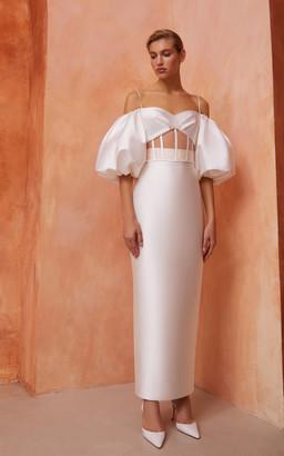 Rasario Bridal Cutout Silk-Blend Corset Top