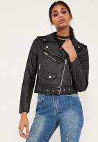 Missguided Black Faux Leather Biker Jacket
