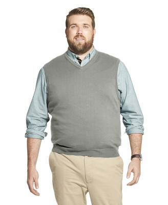 Izod Men's Big & Tall Big and Tall Premium Essentials Solid V-Neck 12 Gauge Sweater Vest