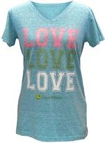 John Deere Turquoise 'Love Love Love' V-Neck Tee - Plus Too
