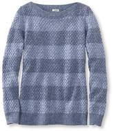 L.L. Bean Cotton Basket-Weave Sweater, Boatneck Pullover Stripe