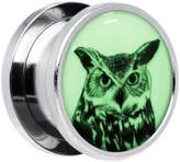 Body Candy Stainless Steel Glow in the Dark Artsy Horned Owl Screw Fit Plug Pair 9/16""