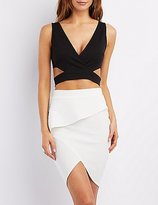 Charlotte Russe Cut-Out V-Neck Crop Top