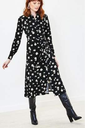Oasis Womens Black Floral Midi Shirt Dress - Black
