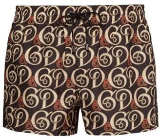 Dolce & Gabbana Cursive Logo Print Swim Shorts - Mens - Black