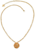 GUESS Gold-Tone Double Chain Stone and Filigree Pendant Necklace