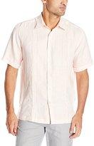 Cubavera Men's Box Pleat Tucking Short Sleeve Woven Shirt