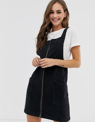 Pimkie zip front denim pinny in black