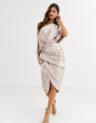Asos Edition EDITION drape asymmetric midi dress in satin-Pink