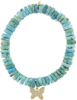 Sydney Evan Butterfly Charm On Arizona Turquoise Wheel Beaded Bracelet