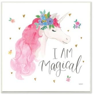 The Kids Room by Stupell I Am Magical Kids Nursery Unicorn Pink Watercolor Design Wall Plaque Art by Jenaya Jackson