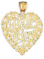 NecklaceObsession 14K Gold Best Friend In Heart Pendant Necklace - 26 mm