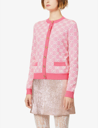 Gucci Monogrammed wool and cotton-blend knitted cardigan