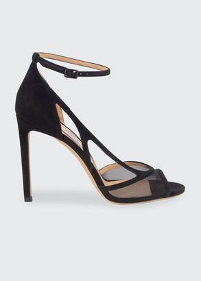 Jimmy Choo Liu Suede Mesh Stiletto Sandals