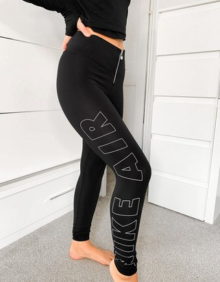 Nike zipped front leggings in black