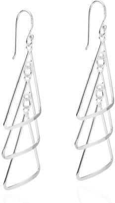 Aeravida Handmade Triangle Chandelier Sterling Silver Dangle Earrings