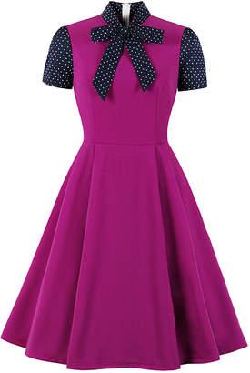 Mike Is Women's Casual Dresses Purple - Purple & Navy Polka Dot Contrast Tie-Neck Fit & Flare Dress - Women