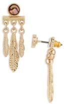 Topshop Women's Feather Drop Back Earrings