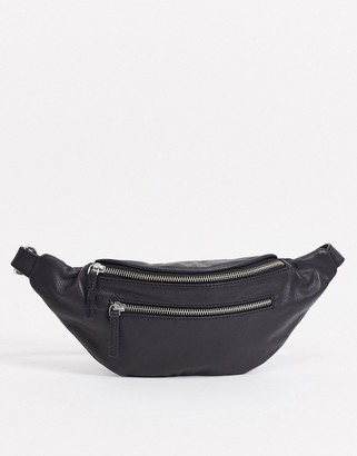 Pieces leather bumbag with chain strap in black