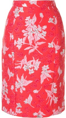 DELPOZO Floral Jacquard Pencil Skirt