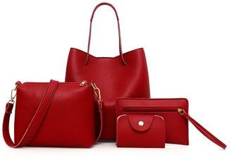 Sonnena Bags Clearence Set 4Pcs Women Pattern Leather Handbag+Crossbody Bag+Messenger Bag+Card Package Pink