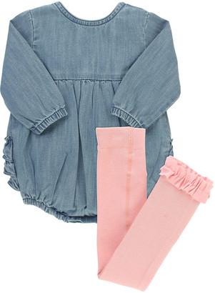 RuffleButts Girl's Light Wash Denim Romper w/ Knit Tights, Size 0-24 Months
