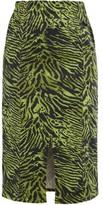 Ganni Tiger-print Stretch Cotton-blend Skirt - Womens - Green