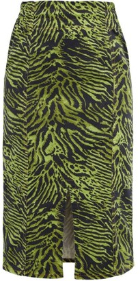 Ganni Tiger-print Stretch Cotton-blend Skirt - Green