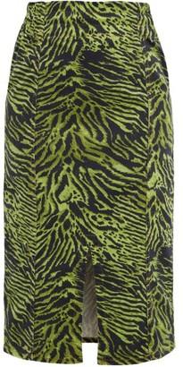 Ganni Tiger Print Stretch Cotton Blend Skirt - Womens - Green