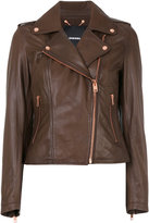 Diesel cropped biker jacket - women - Cotton/Lamb Skin - XS