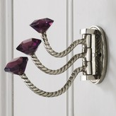 Graham and Green Adjustable Triple Hooks With Purple Glass Knobs