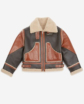 The Kooples Brown leather jacket with sheepskin details