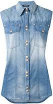 Balmain sleeveless denim blouse