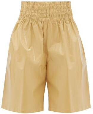 Bottega Veneta High-rise Wide-leg Leather Shorts - Womens - Beige