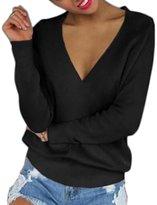 Shinekoo Women Long Sleeve Sexy Deep V-neck Loose Sweater Autumn Winter Tops