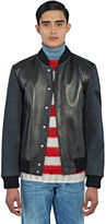 Gucci Men's Embroidered Leather Bomber Jacket In Black
