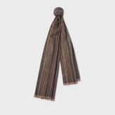 Paul Smith Men's Signature Stripe Herringbone Lamsbwool Scarf