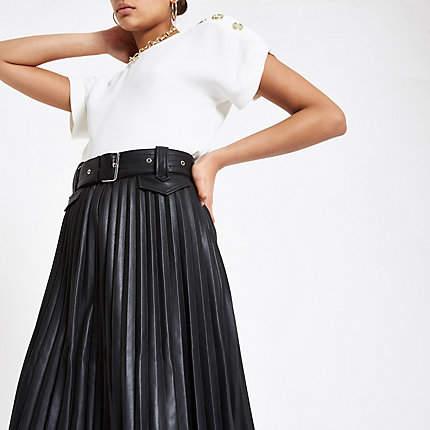 River Island Black pleated midi skirt