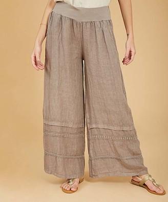 Ornella Paris Women's Casual Pants - Taupe Side-Pocket Linen Flare Pants - Women & Plus
