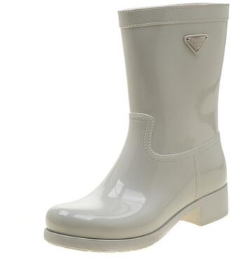 Prada Sport White Rubber Clay Rain Boots Size 38
