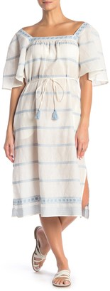 Tory Burch Embroidered Linen Blend Cover-Up Midi Dress