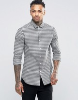 Asos Slim Shirt With Stretch In Monochrome Grid Check With Long Sleeves
