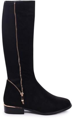 Linzi NATASHA - Black Suede Long Boot with Gold Zip & Heel Detailing and Lycra Back Panel